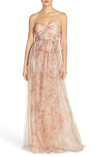 Jenny Yoo 'Annabelle' Print Tulle Convertible Column Gown