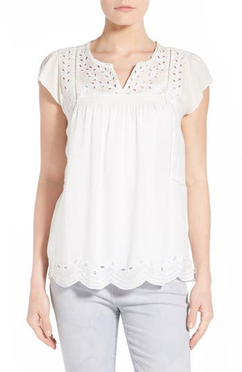 Embroidered Eyelet Trim Top by Lucky Brand
