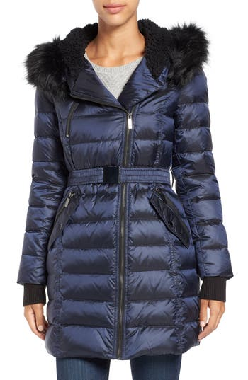 French Connection Quilted Coat with Faux Fur Trim Hood