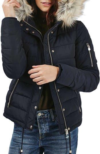 Topshop Woody Faux Fur Hood Puffer Jacket Nordstrom