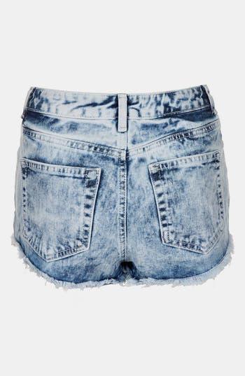 Alternate Image 2  - Topshop Moto 'Acid Holly' Denim Hot Pants (Petite)