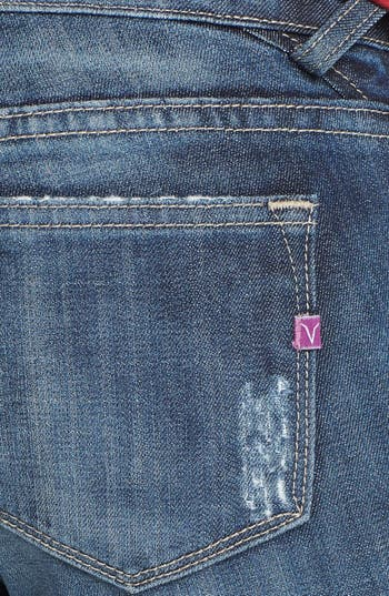 Alternate Image 3  - Vigoss Deconstructed Skinny Jeans (Dark Wash) (Juniors) (Online Only)