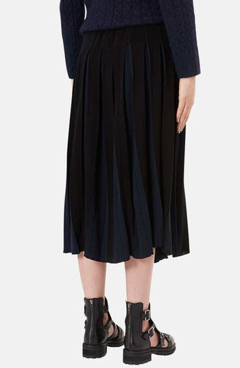Alternate Image 2  - Topshop Boutique Pleated Two-Tone Midi Skirt