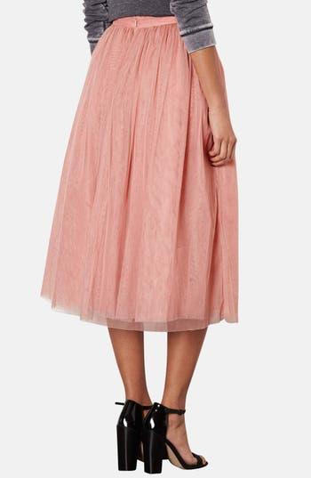 Alternate Image 2  - Topshop Pleated Mesh Midi Skirt