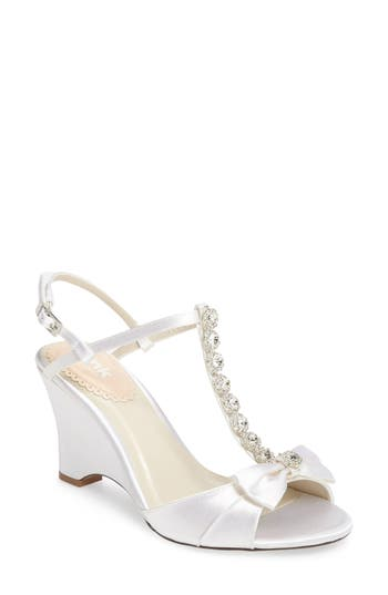 pink paradox london Sand Embellished T-Strap d'Orsay Wedge (Women)