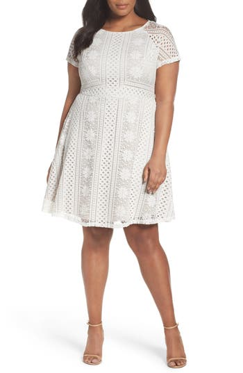 Adrianna Papell A-Line Lace Dress (Plus Size)