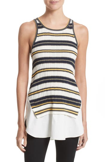 Derek Lam 10 Crosby Layered Hem Cotton Tank