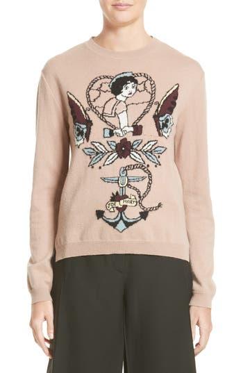 Valentino Tattoo Intarsia Wool & Cashmere Sweater