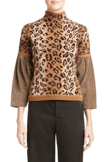 Loewe Chenille Sleeve Leopard Jacquard Sweater
