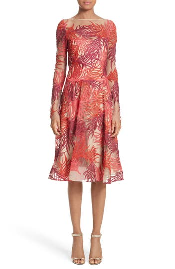 Naeem Khan Threadwork Embroidered Long Sleeve Dress