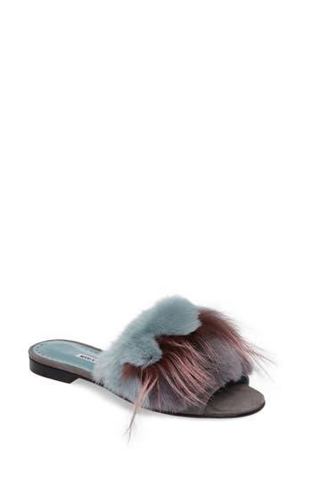 Manolo Blahnik Pelosusrafo Genuine Rabbit & Fox Fur Slide Sandal (Women)