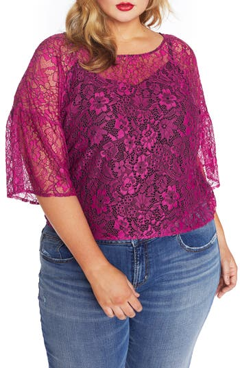 REBEL WILSON X ANGELS Lantern Sleeve Lace Top (Plus Size)