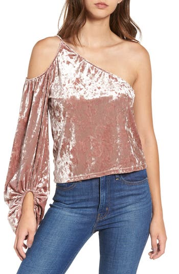 Leith One-Shoulder Velour Top