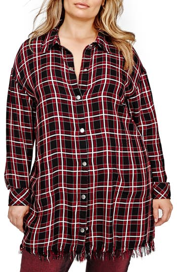 ADDITION ELLE LOVE AND LEGEND Plaid Fringe Tunic (Plus Size)