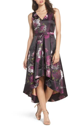 Eliza J Belted Print High/Low Party Dress