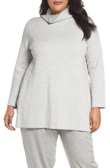 Eileen Fisher Reversible Funnel Neck Tunic Sweater (Plus Size)