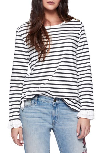 Sanctuary Ruffle Cuff Stripe Knit Top