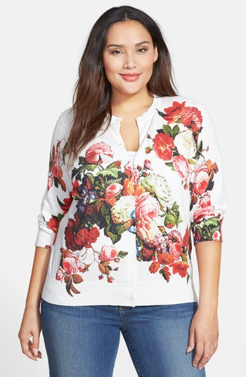 Halogen 174 Floral Print Cardigan Plus Size Nordstrom