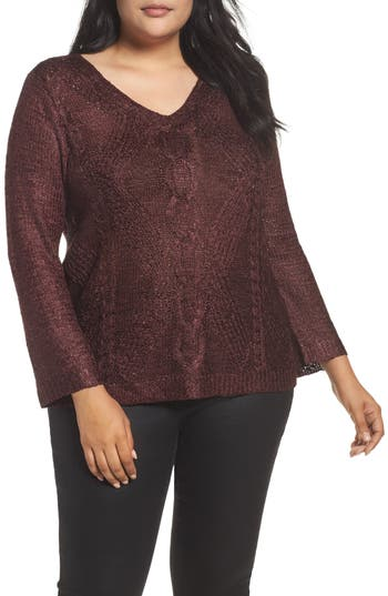 NIC+ZOE Cable Wave Sweater (Plus Size)