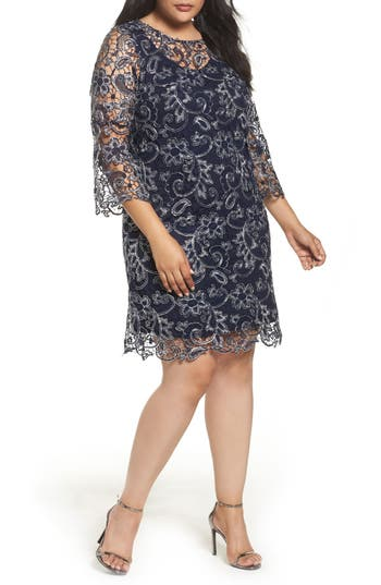 Marina Bell Sleeve Lace Shift Dress (Plus Size)