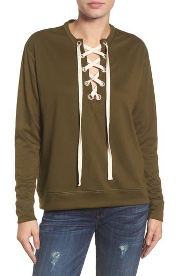 Caslon® Lace-Up Sweatshirt