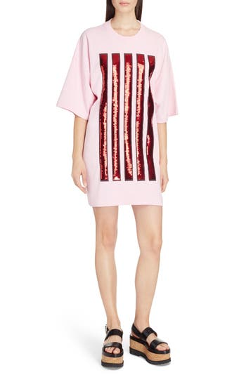 KENZO Sequin Stripe Oversize T-Shirt Dress