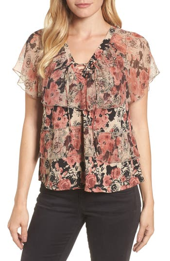Lucky Brand Ruffled Rose Print Top