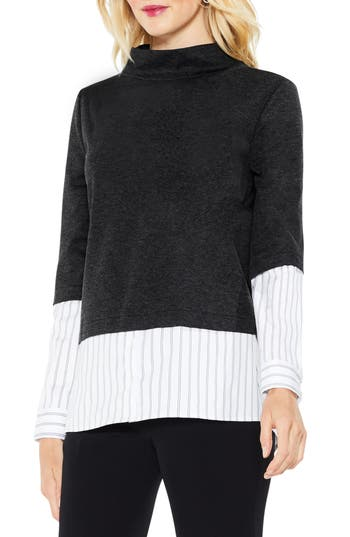 Vince Camuto Mock Neck Mix Media Ponte Top