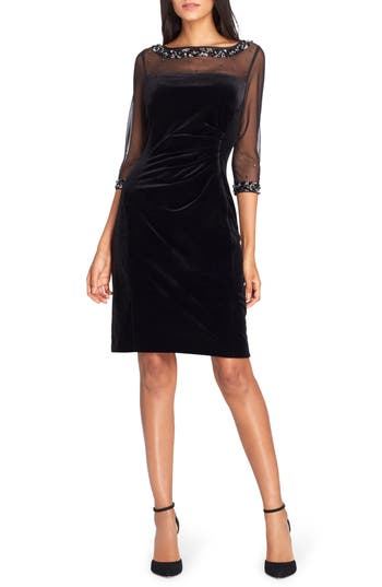 Tahari Embellished Velvet Sheath Dress