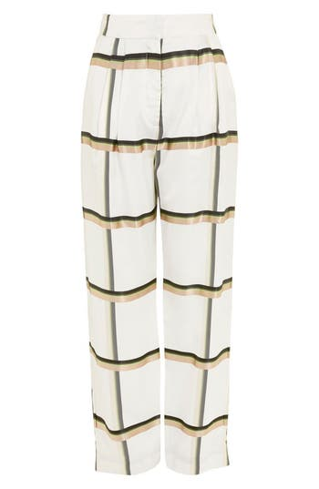 Topshop Boutique Checked Wide Leg Twill Trousers