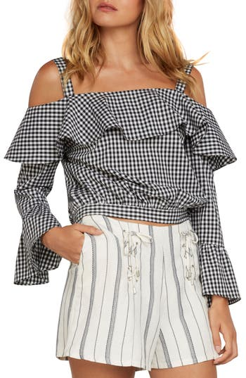 Gingham Cold Shoulder Top by Willow & Clay