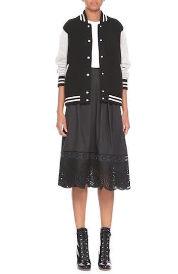 Stripe Detail Wool & Cashmere Knit Varsity Jacket, video thumbnail