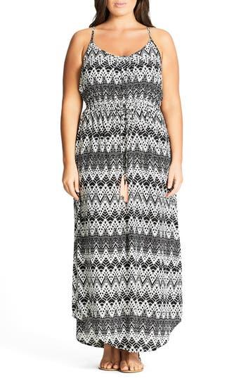 City Chic Mono Print Maxi Dress (Plus Size)