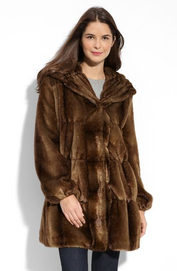 Jones New York Faux-fur-scarf Walker Coat With Removable