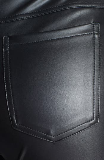 'Leatherette' Leggings,                             Alternate thumbnail 3, color,                             Black
