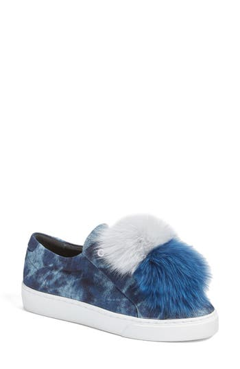 Here / Now Joey Genuine Fox Fur Trim Sneaker (Women)