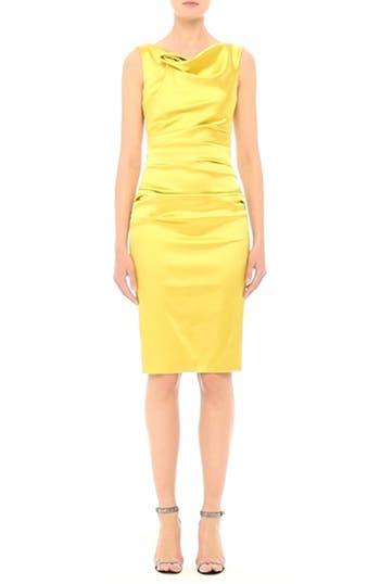 Stretch Satin Sheath Dress, video thumbnail