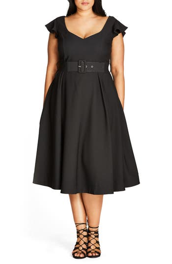City Chic Flirty Flutter Belted Midi Dress (Plus Size)