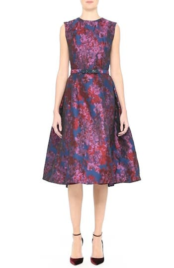 Badgley Mischka Couture Floral Jacquard Fit & Flare Dress, video thumbnail