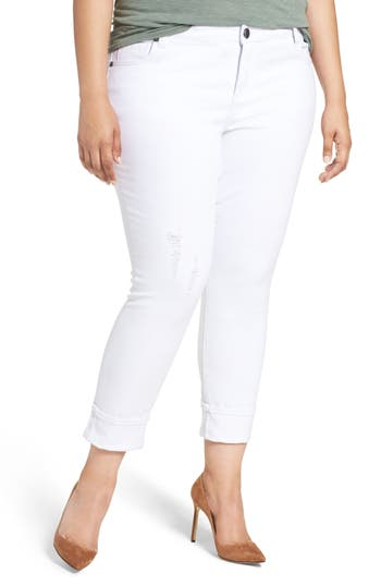 KUT from the Kloth Catherine Distressed Wide Cuff Boyfriend Jeans (Optic White) (Plus Size)