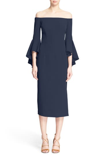 Milly Selena Off the Shoulder Midi Dress