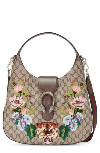 Gucci Medium Dionysus Tiger GG Supreme Canvas Hobo