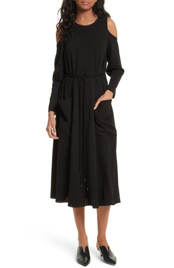 Tibi Cold Shoulder Midi Dress