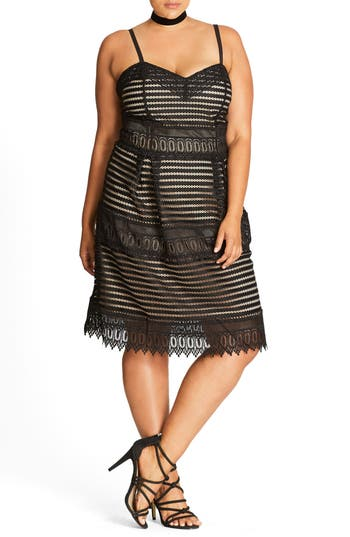 City Chic Royal Detail Fit & Flare Dress (Plus Size)