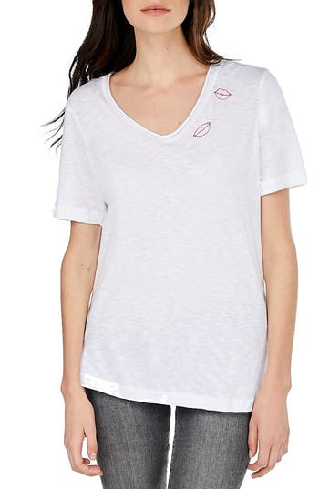 Michael Stars Embroidered V-Neck Tee