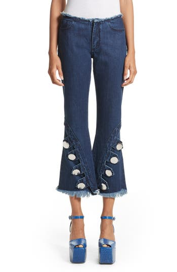 Marques'Almeida Button Trim Crop Flare Jeans