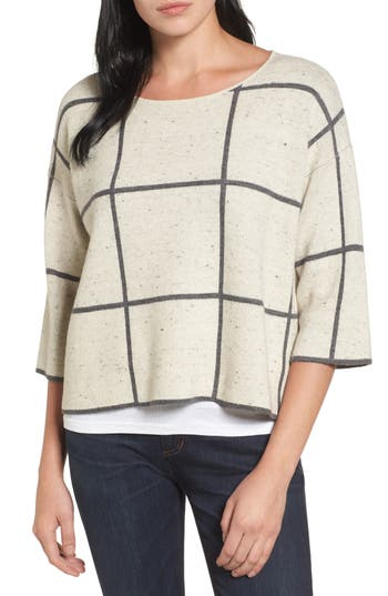 Eileen Fisher Windowpane Check Boxy Sweater