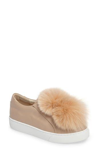 Here / Now Arian Genuine Fox Fur Trim Sneaker (Women)