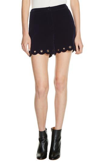 maje Grommet Detail Velvet Shorts