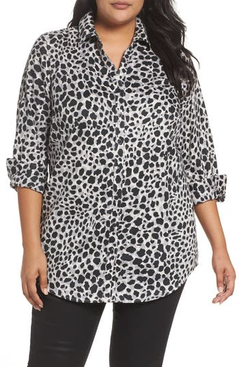 Foxcroft Fay Animal Print Cotton Tunic Shirt (Plus Size)